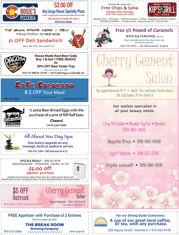 COUPONS - Pagosa Springs Dining Guide - dining, restaurant